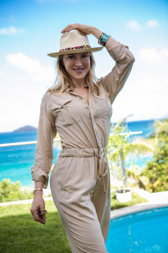Safari Chic Jumpsui paired with Hat for SPF