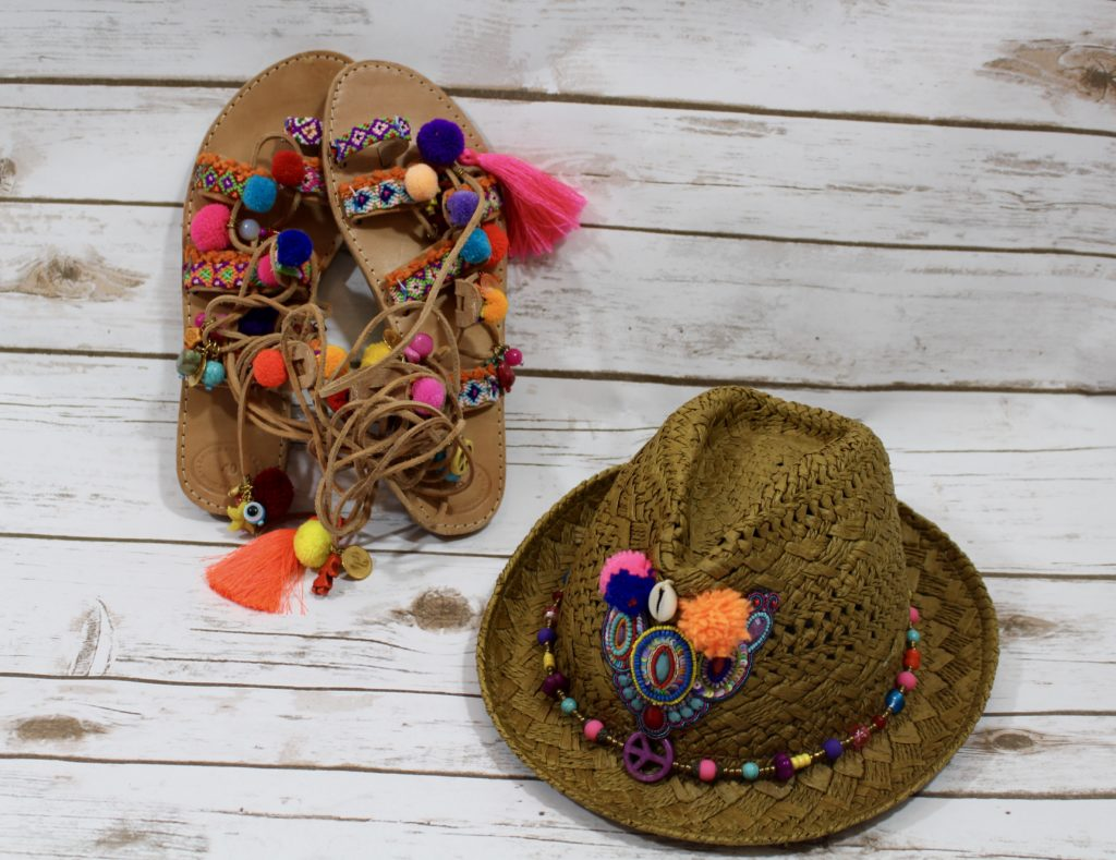 Pom Pom Sandals and Hat SPF