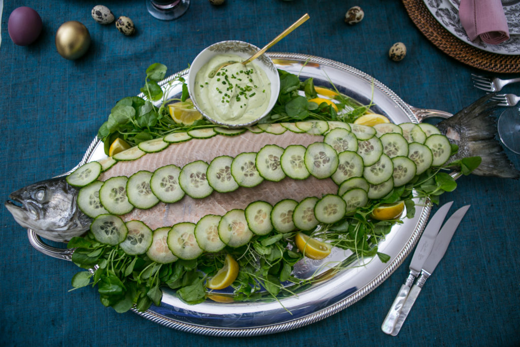 Whole poached salmon with watercress & avocado mayonnaise